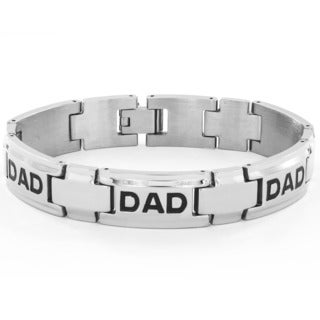Men's High Polish Stainless Steel 'Dad' Link Bracelet