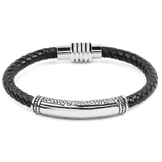 Crucible Men's Braided Black Leather and Stainless Steel Bracelet