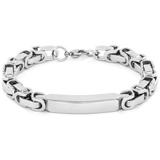 Crucible Men's High Polish Stainless Steel Byzantine ID Bracelet