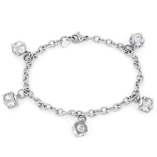 Elya Stainless Steel Cubic Zirconia Cube Charm Bracelet