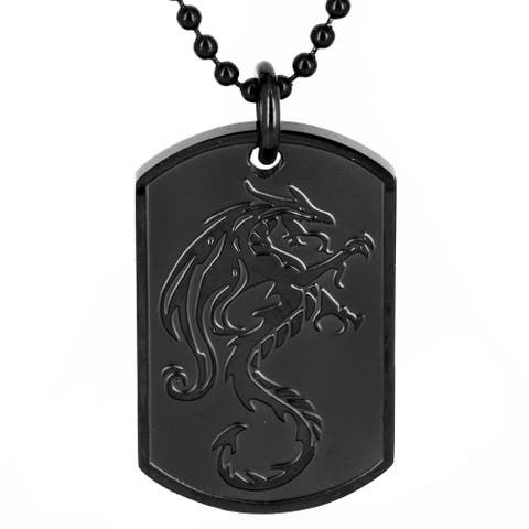 Black Plated Stainless Steel Dragon Dog Tag Pendant