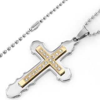 Men's Goldplated Stainless Steel Two-layer Cubic Zirconia Cross Pendant Necklace