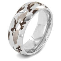 Stainless Steel Men's Etched Camouflage Band Ring - White
