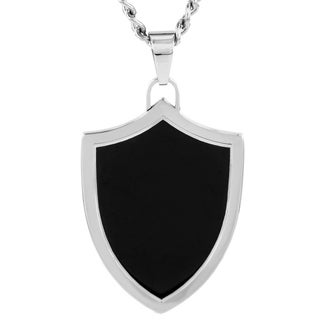 Crucible Stainless Steel Men's Black Enamel Shield Pendant Necklace