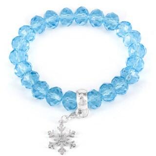 Winter Wonderland Snowflake and Blue Bead Stretch Bracelet