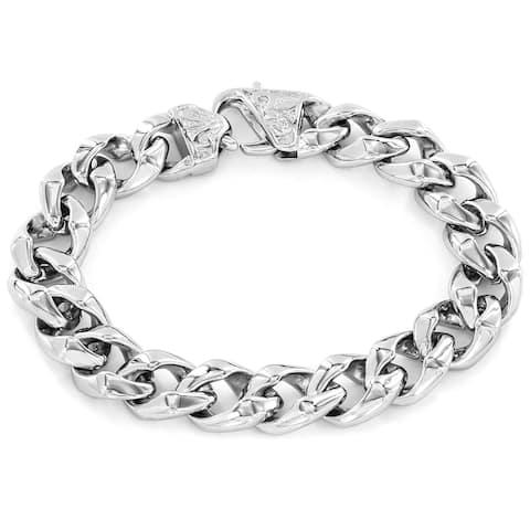 Crucible Classic Stainless Steel Curb Link Fleur-de-Lis Clasp Bracelet
