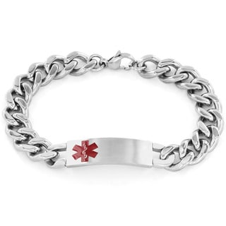 Men's Stainless Steel Curb Link Medical ID Bracelet