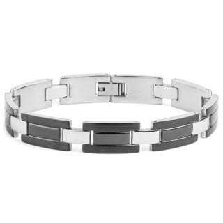 Crucible Men's Gunmetal-plated Stainless Steel Double Groove Link Bracelet