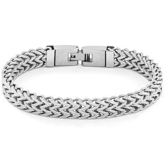 Crucible Men's High Polish Stainless Steel Double Franco Link Bracelet