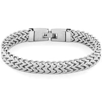 Crucible Men S High Polish Stainless Steel Double Franco Link Bracelet