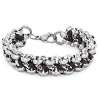 Crucible Men's Stainless Steel Faceted Double Chain Link and Brown Leather Bracelet