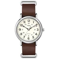 Timex Men's  Weekender Forty Cream Dial Brown Slip-thru Leather Strap Watch
