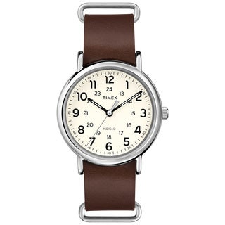 Timex Men's T2P4959J Weekender Forty Cream Dial Brown Slip-thru Leather Strap Watch