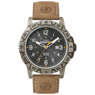 Timex Men's Expedition Rugged Metal Field Black Dial Tan Leather Strap Watch
