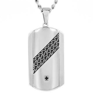 Crucible Stainless Steel Black Cubic Zirconia Dog Tag Necklace