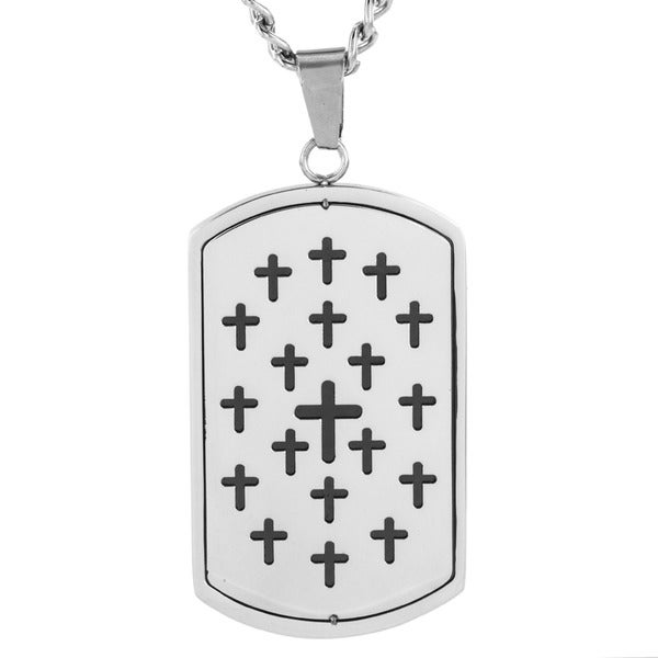 Men's Stainless Steel Cut-out Cross Dog Tag Pendant Necklace
