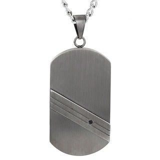 Crucible Men's Stainless Steel Gunmetal Striped and Black Cubic Zirconia Dog Tag Pendant Necklace
