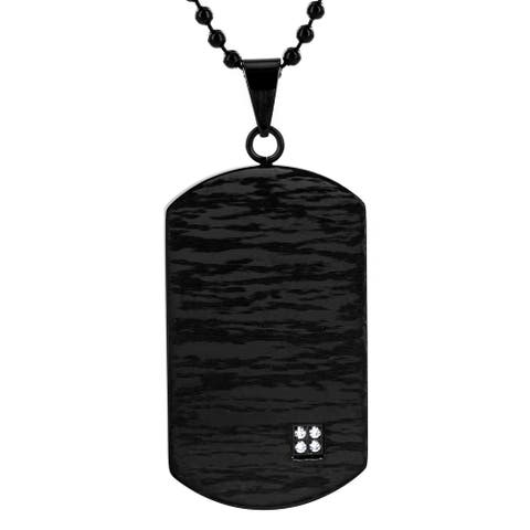 Crucible Stainless Steel Black Plated Cubic Zirconia Dog Tag