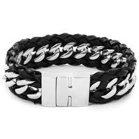Crucible Black Braided Leather and Stainless Steel Curb Link Bracelet
