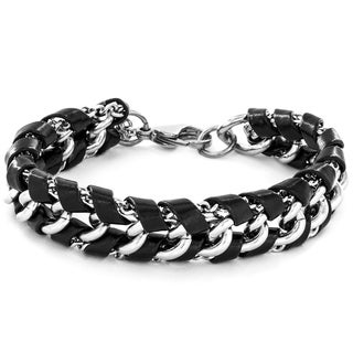 Crucible Men's Black Leather and Stainless Steel Chain Link Bracelet
