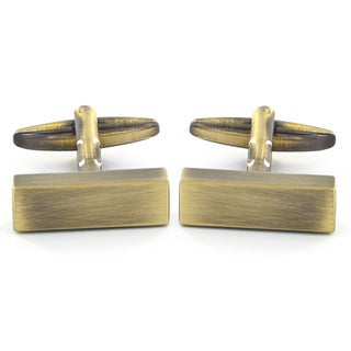 Men's Antiqued Bronze-tone Rectangle Bar Cuff Links