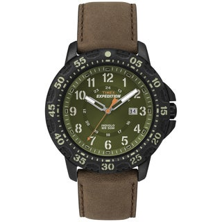 Timex Men's T499969J Expedition Rugged Green Dial Brown Leather Strap Watch