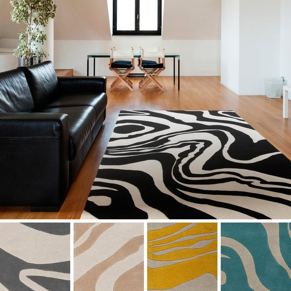 Hand-tufted Lydia Abstract New Zealand Wool Area Rug - 5' x 8'