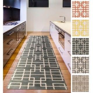 Hand-tufted Eliza Transitional Geometric Wool Area Rug (2'6 x 8')