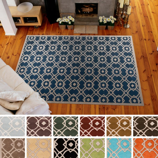 Hand-tufted Karen Contemporary Geometric Wool Area Rug - 8' x 11'