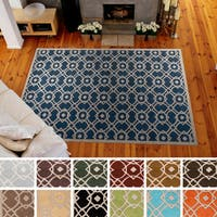 Hand-tufted Karen Contemporary Geometric Wool Area Rug (8' x 11') - 8' x 11'