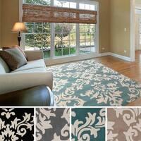Hand-tufted Alyshia Classic Damask New Zealand Wool Area Rug (8' x 11') - 8' x 11'