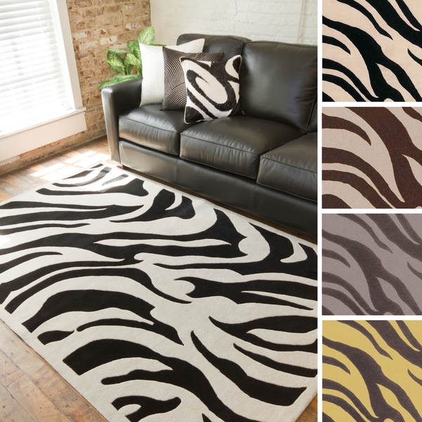 Hand-tufted Danielle Zebra New Zealand Wool Area Rug - 5' x 8'