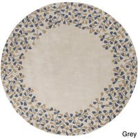 Hand-tufted Rome Floral Border Round Wool Area Rug - 8'