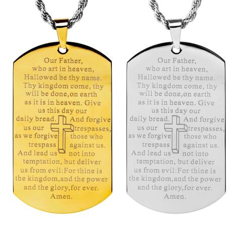 'Lord's Prayer' Mirror Polished Stainless Steel Dog Tag Necklace