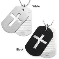 Crucible Stainless Steel Cross and 'Lord's Prayer' Double Dog Tag Necklace