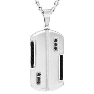 Crucible Men's Stainless Steel Black Cable Black Cubic Zirconia Dog Tag Necklace