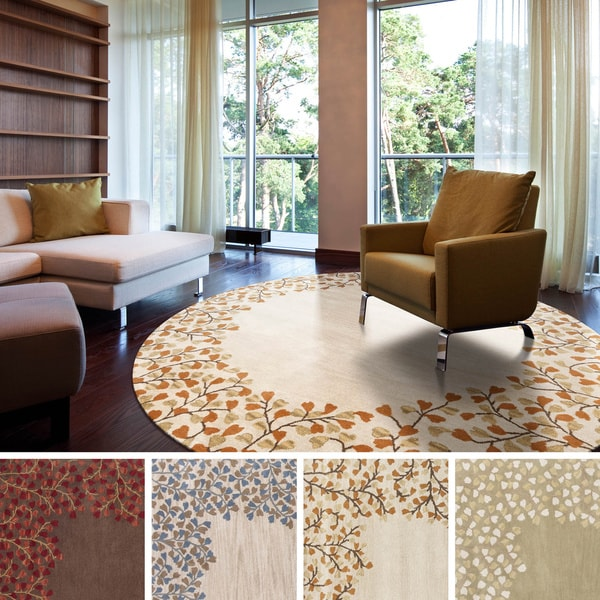 Shop Hand-tufted Rome Floral Border Round Wool Area Rug