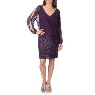 J Laxmi Women's Peep Sleeve Embellished 2-piece Skirt Mock Dress
