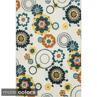 Indoor/ Outdoor Palm Floral/ Multi Rug (3'11 x 5'10)