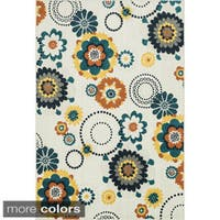 "Indoor/ Outdoor Palm Floral/ Multi Rug (3'11 x 5'10) - 3'11"" x 5'10"""