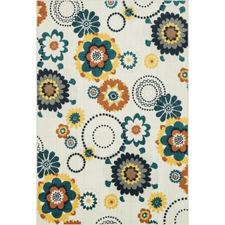 Indoor/ Outdoor Palm Floral/ Multi Rug (9'2 x 12'1)