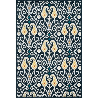 Indoor/ Outdoor Palm Navy/ Multi Rug (3'11 x 5'10)