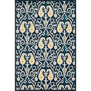 Indoor/ Outdoor Palm Navy/ Multi Rug (3'11 x 5'10) - 3'11 x 5'10