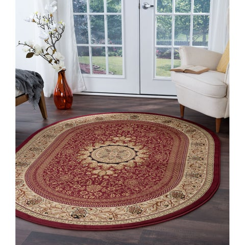 Alise Soho Red Oval Traditional Area Rug - 5'3 x 7'3