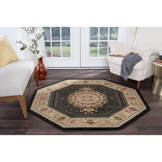 Alise Rugs Soho Traditional Oriental Octagon Area Rug - 5'3 x 5'3