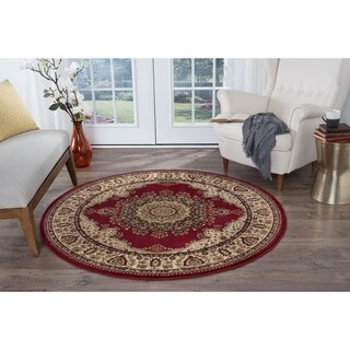 Alise Soho Red Traditional Area Rug (5'3 Round)