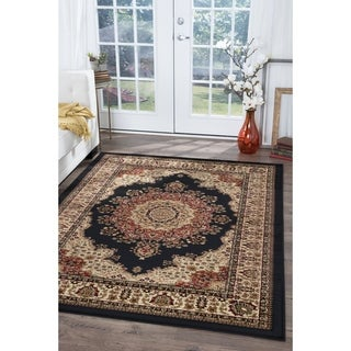 Alise Soho Black Traditional Area Rug (6'7 x 9'6)