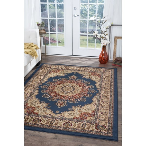 Alise Soho Navy Blue Traditional Area Rug (8'9 x 12'3)