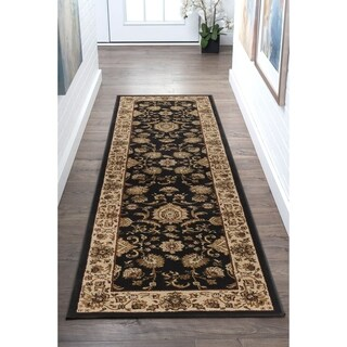 Alise Soho Black Traditional Runner - 2'7 x 7'3