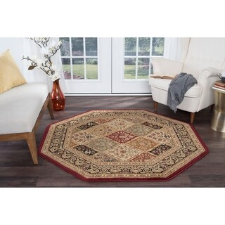Alise Soho Red Traditional Area Rug (5'3 Octagon)